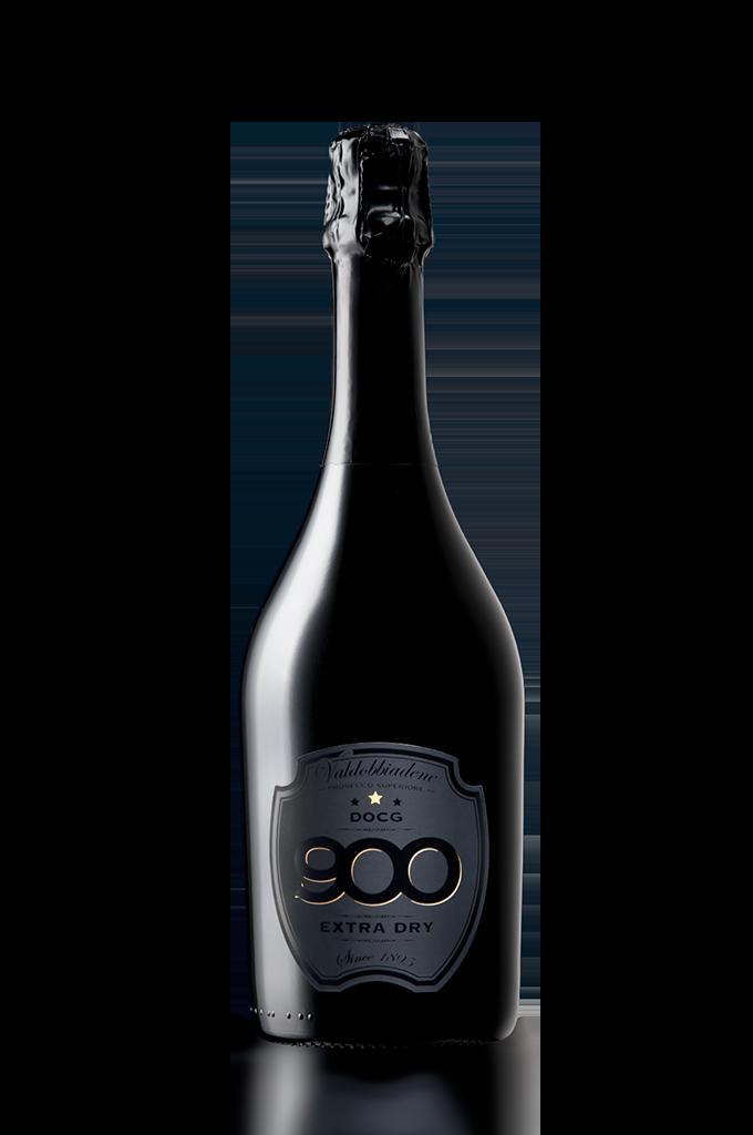 900 wine: bottiglia del prosecco DOCG Valdobbiadene Superiore Extra Dry adagiata in posizione verticale versione mobile