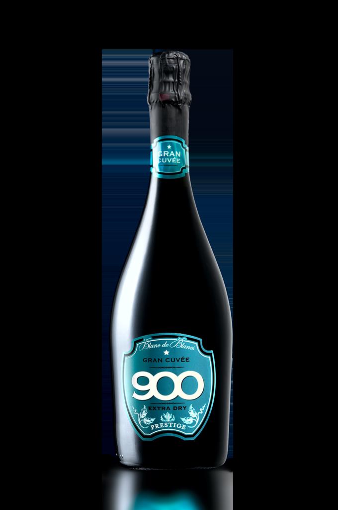 900 wine: bottiglia del spumante Gran Cuvée Prestige adagiata in posizione verticale versione mobile