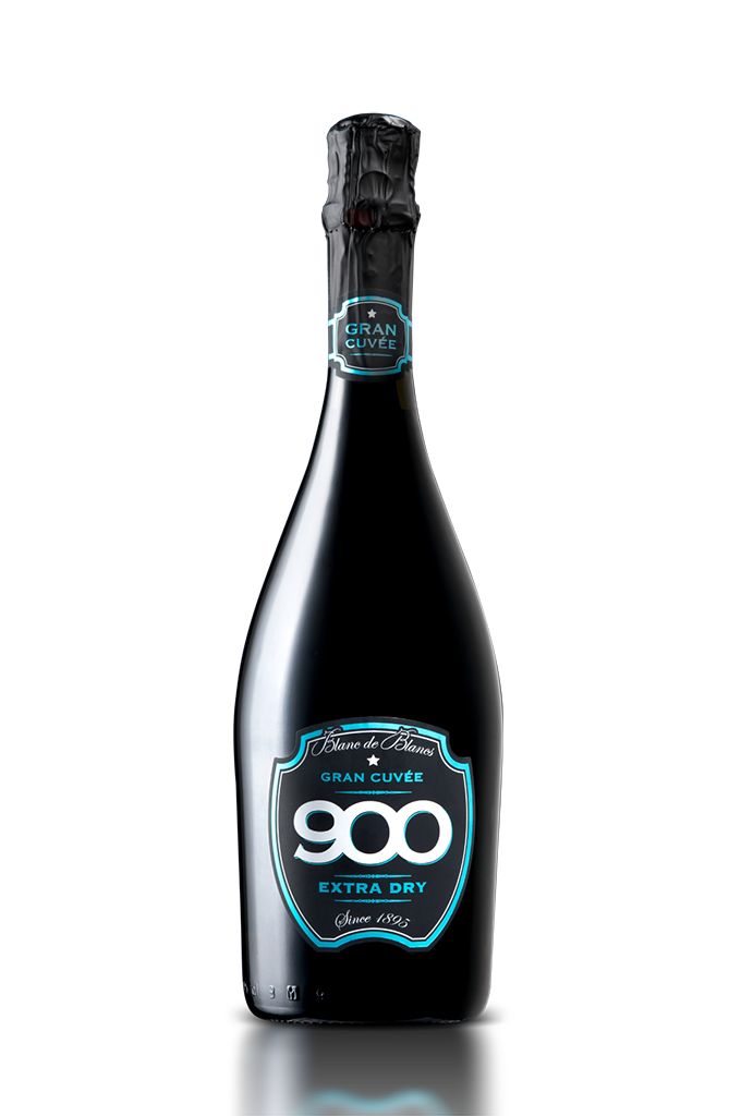 900 wine: bottiglia del spumante Gran Cuvée adagiata in posizione verticale versione mobile