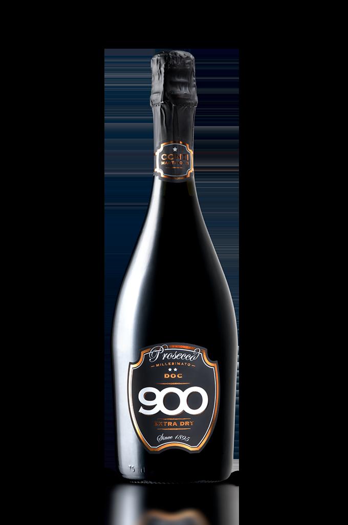 900 wine: bottiglia del prosecco Millesimato adagiata in posizione verticale versione mobile