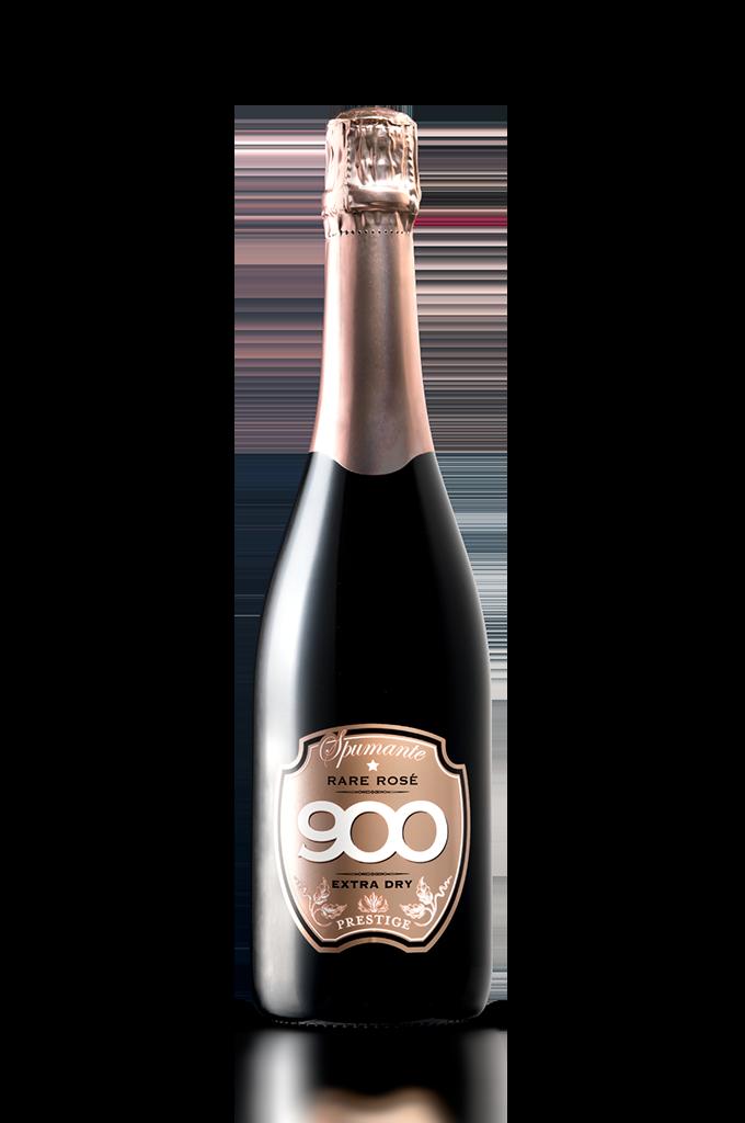 900 wine: bottiglia dello spumante Rare Rosé Prestige adagiata in posizione verticale versione mobile