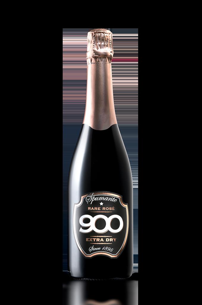 900 wine: bottiglia dello spumante Rare Rosé adagiata in posizione verticale versione mobile